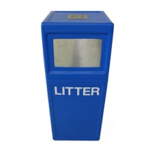 Floor mounted pillar litter bin with stubber plate
