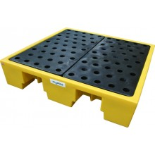 4 Drum Plastic Spill Pallet with Galvanised Grid