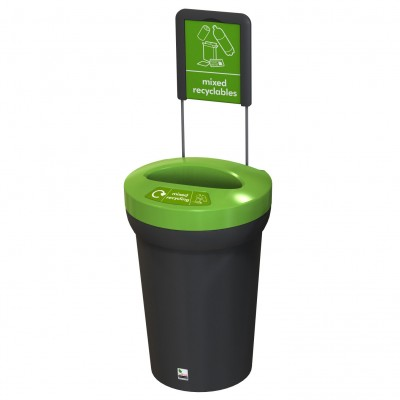 Arena recycling bin - mixed version with sign
