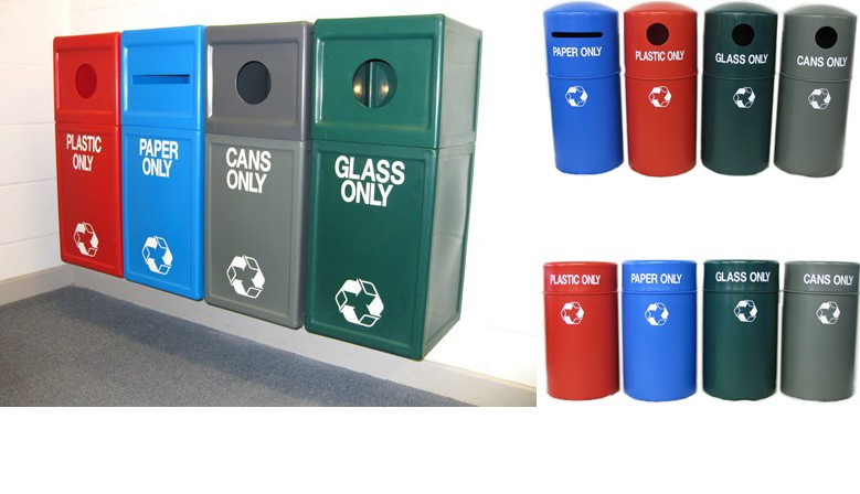 Large selection of recycling bins to form recycling stations